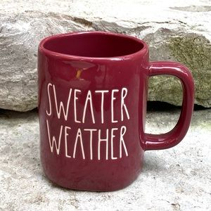 Rae Dunn SWEATER WEATHER Burgundy Fall Mug